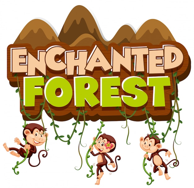 サルが登ると単語の魅惑の森のフォントデザイン 無料ベクター