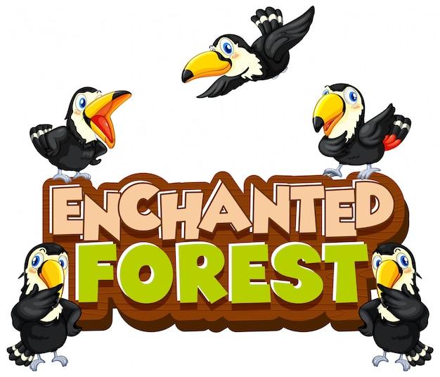 オオハシ鳥と単語の魔法の森のフォントデザイン 無料ベクター