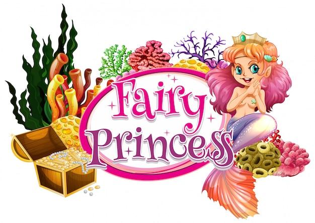 水中の人魚と単語の妖精の王女のフォントデザイン 無料ベクター
