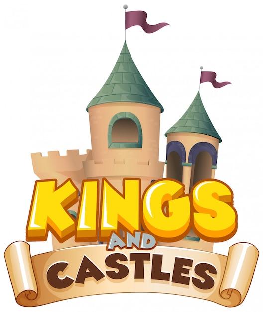 Дизайн шрифтов для слов королей и замков на белом фоне Бесплатные векторы