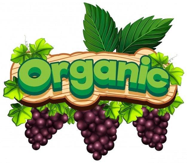 新鮮なブドウと有機単語のフォントデザイン 無料ベクター