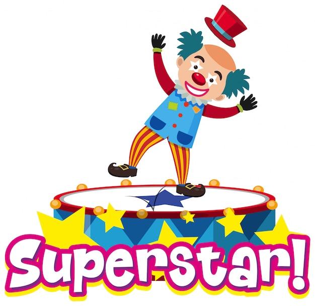 Дизайн шрифта для слова суперзвезда с забавным клоуном Premium векторы