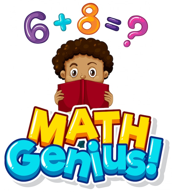 Font design for math genius with boy doing homework Free Vector
