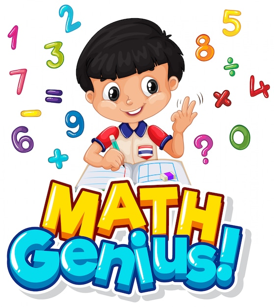 Font design for math genius with boy and numbers Free Vector