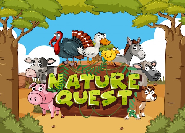 Font design for nature quest with farm animals in background Premium Vector