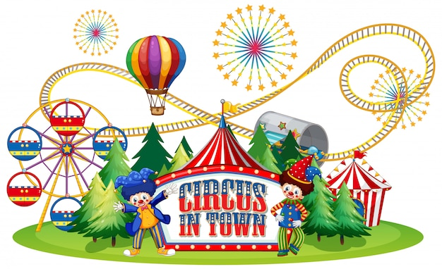 Font design for word circus in town with clowns in the circus Free Vector
