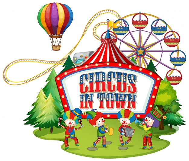 Font design for word circus in town with clowns in the circus Premium Vector