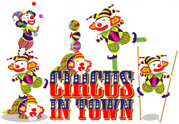 Font design for word circus in town with happy clowns Free Vector