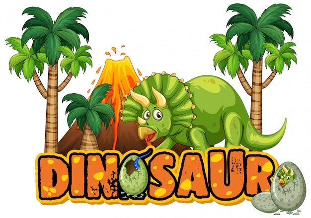 Design dei caratteri per la parola dinosauro con triceratopo nella foresta Vettore gratuito