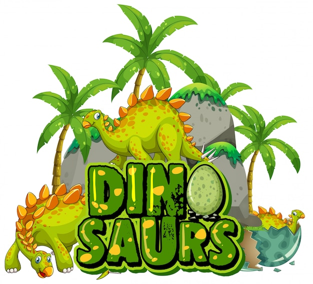 Font design for word dinosaurs with dinosaurs in the jungle Free Vector