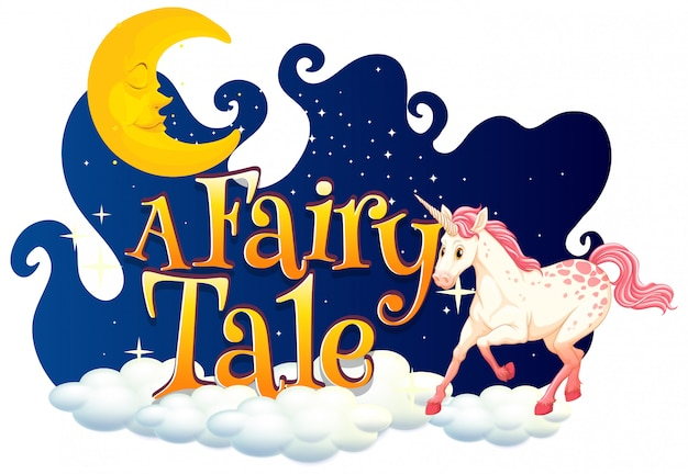 Font design for word a fairy tale with white unicorn in night sky Free Vector