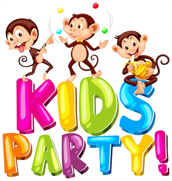 Font design for word kids party with happy monkeys playing Free Vector