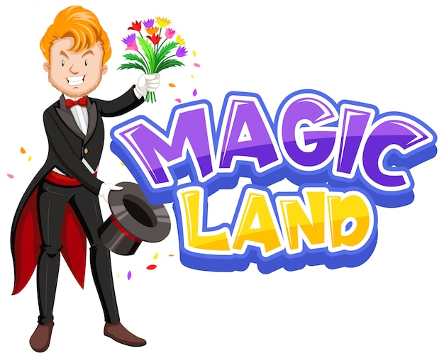 Font design for word magic land with happy magician and flowers Free Vector