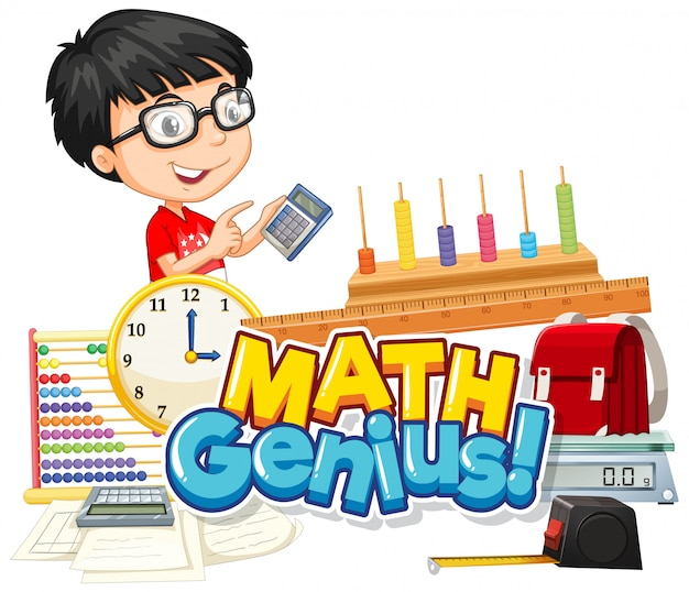 Font design for word math genius cute boy and school item Free Vector