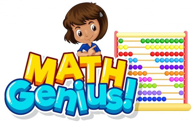 Design dei caratteri per la parola genio della matematica con ragazza carina e abaco Vettore gratuito
