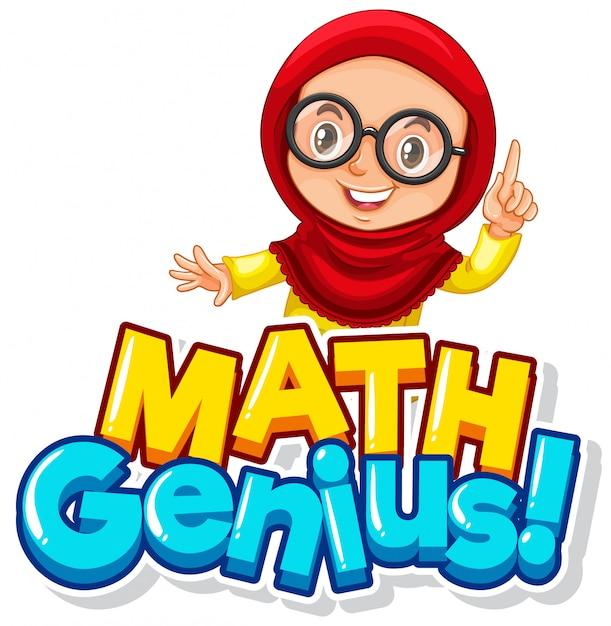 Design dei caratteri per la parola genio della matematica con una ragazza musulmana carina Vettore gratuito