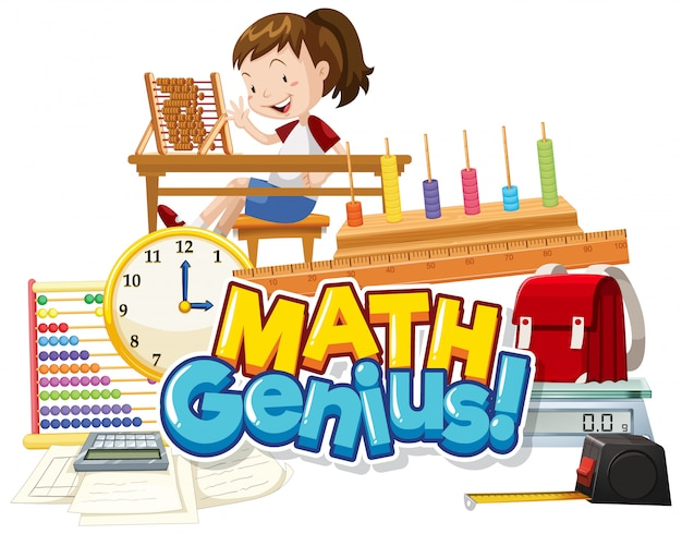 Font design for word math genius with girl and school item Free Vector