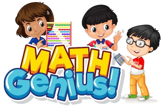 Design del carattere per genio della matematica parola con bambini felici Vettore gratuito