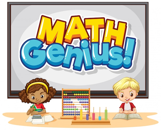 Font design for word math genius with happy kids in class Free Vector