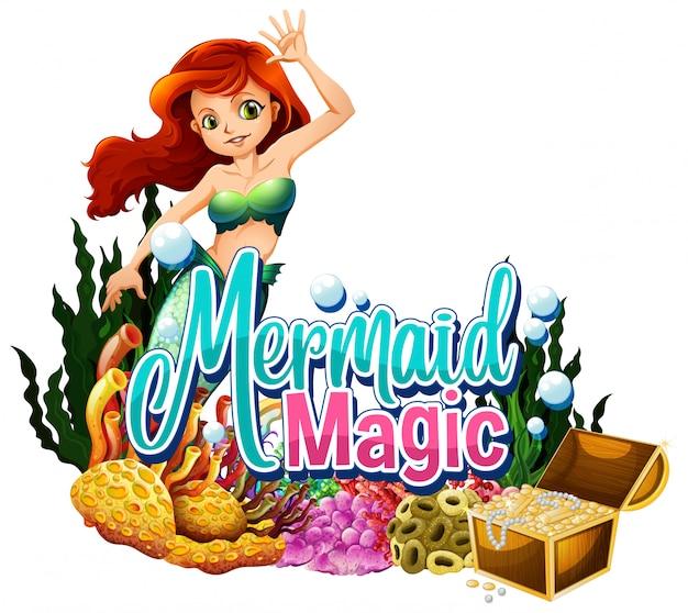 Progettazione di font per la parola sirena magica su sfondo bianco Vettore gratuito