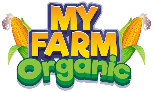 Font design for word my farm with fresh corns Free Vector