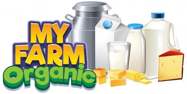Progettazione di font per la mia fattoria con prodotti lattiero-caseari freschi Vettore gratuito