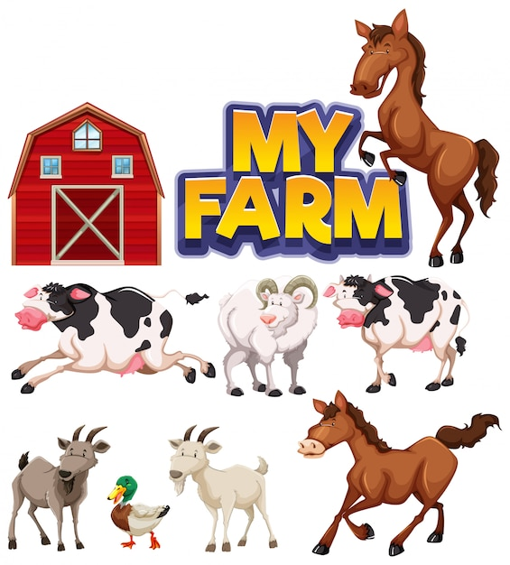 Font design for word my farm with many animals Free Vector