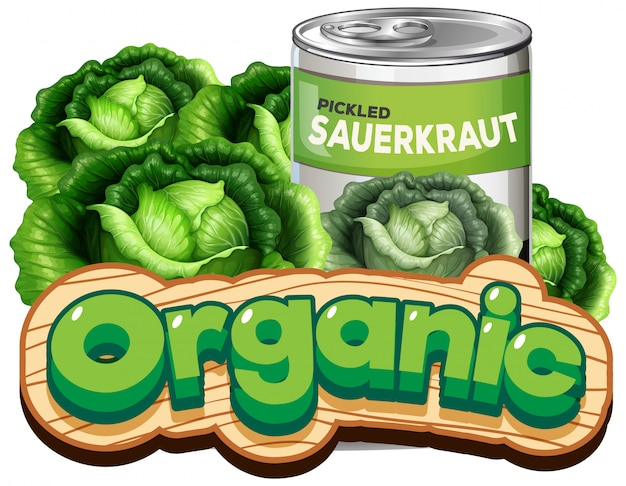 Font design for word organic with canned pickled sauerkraut Free Vector