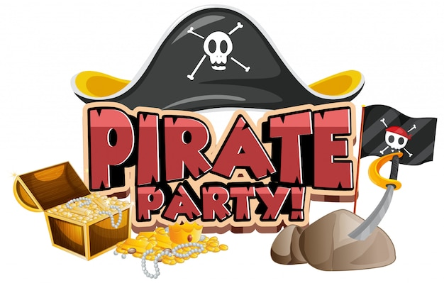 Font design for word pirate party with hat and gold Free Vector