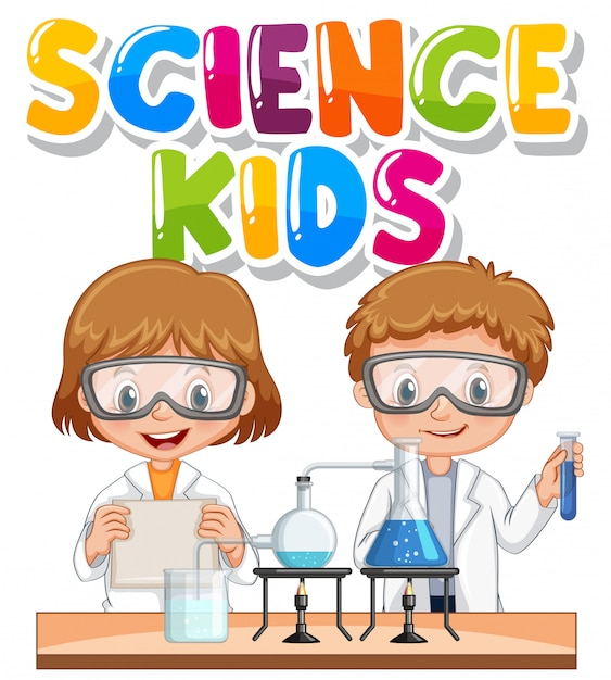 Free Vector Font Design For Word Science Kids With Children In Science Lab