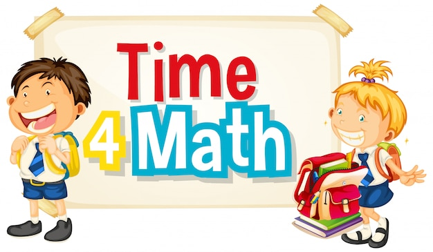 Font design for word time 4 math with two happy students Free Vector