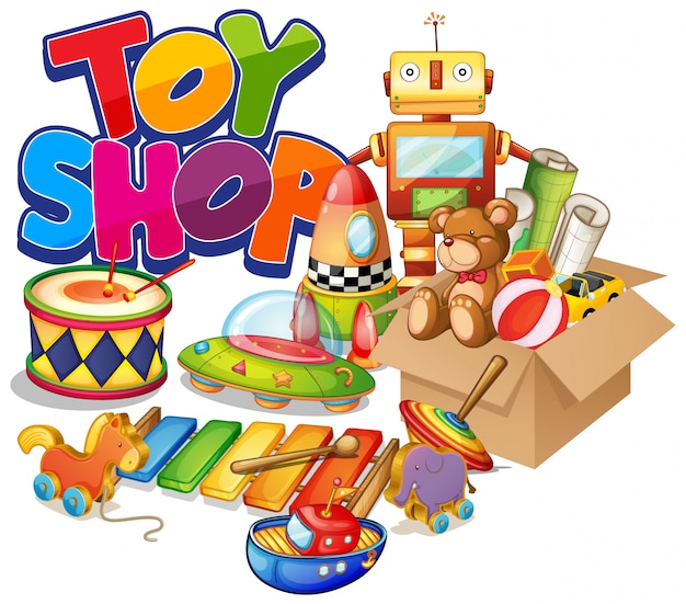 Font design for word toy shop with many toys on white background Free Vector