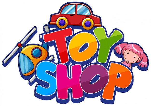 Font design for word toy shop with many toys Free Vector