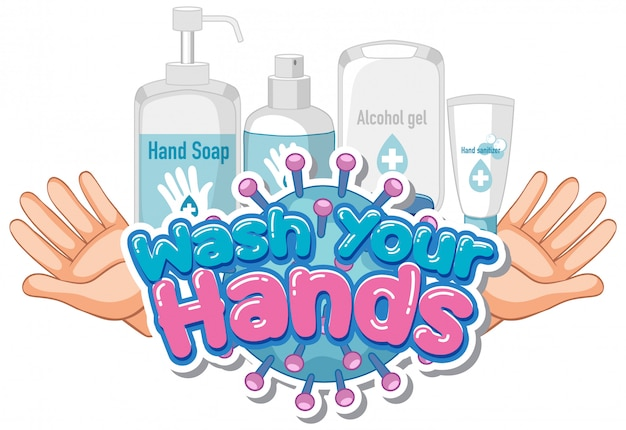 Font design for word wash your hands with soap and clean hands Free Vector