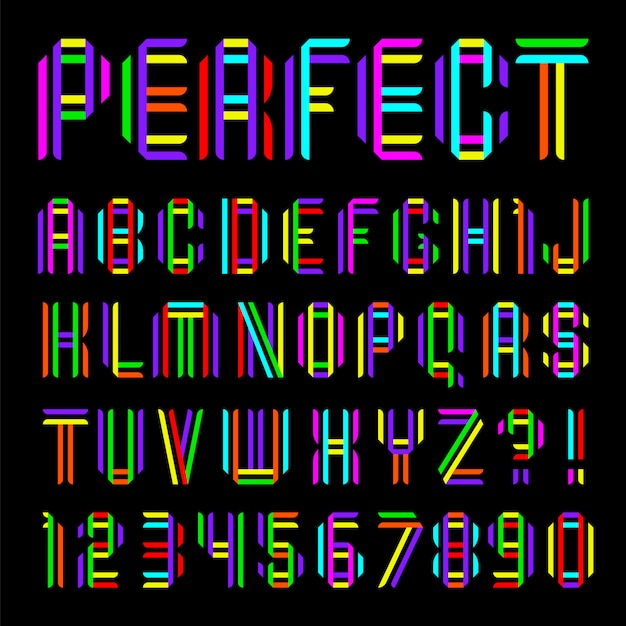 Font folded from two colored tapes Premium Vector