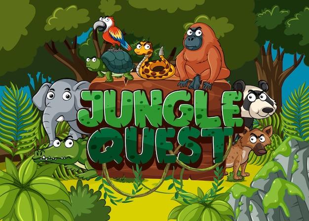 森の多くの動物とジャングルクエストのフォント Premiumベクター