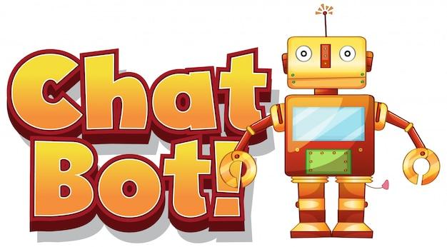 白い背景の上の単語チャットボットのフォント 無料ベクター
