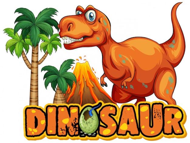 恐ろしいティラノサウルスレックスと単語恐竜のフォント 無料ベクター