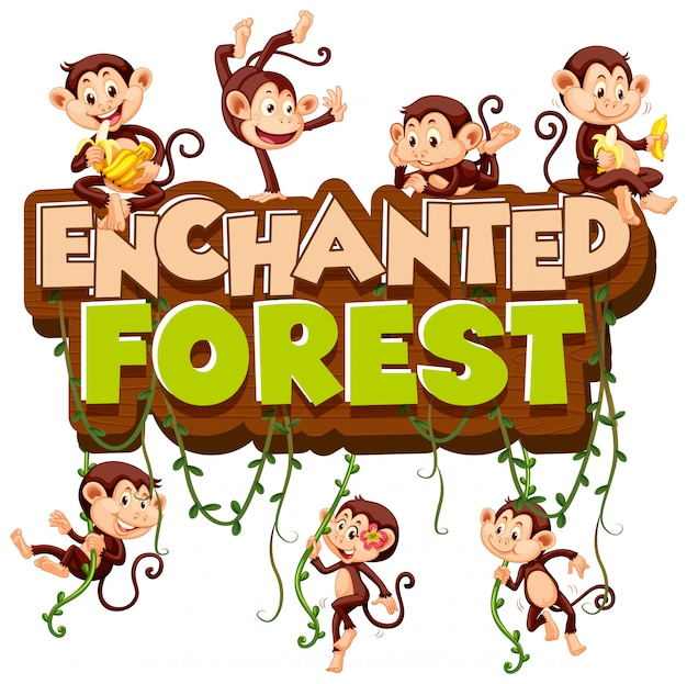 サルが遊んでいる言葉の魔法の森のフォント 無料ベクター