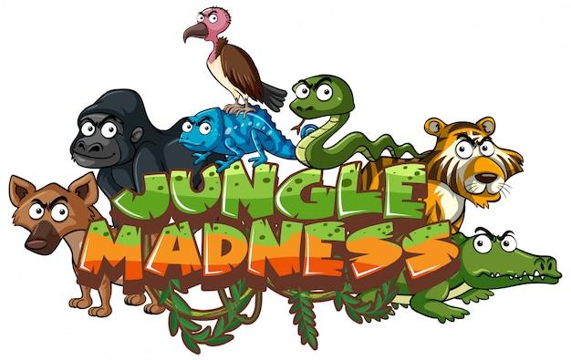 野生動物と単語のジャングルの狂気のフォント Premiumベクター