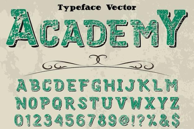Font handcrafted vector design academy Premium Vector