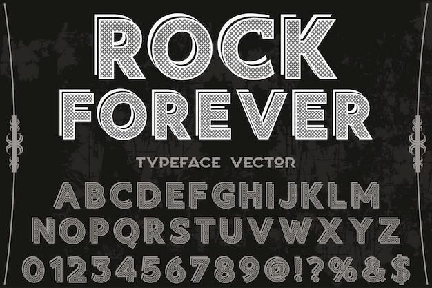 Font label design rock forever Premium Vector