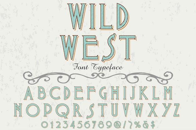 Font label design wild west Premium Vector