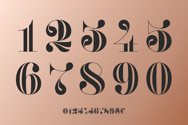 Font of numbers in classical french didot Premium Vector