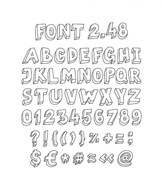 Font set of letters and symbols Premium Vector