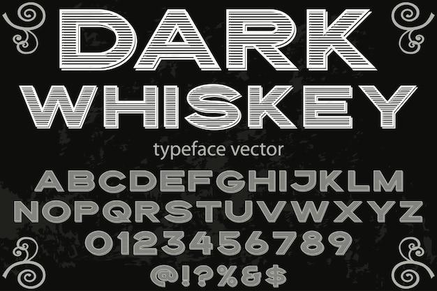 Font shadow effect label design dark whiskey Premium Vector