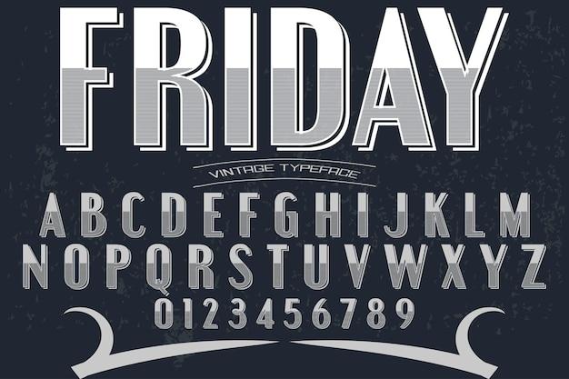 Font shadow effect typography design friday Premium Vector