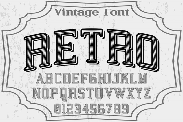 Font  vector retro and label design Premium Vector