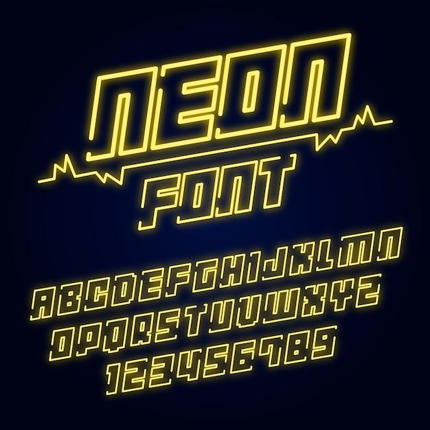네온 스타일의 알파벳 글꼴 프리미엄 벡터