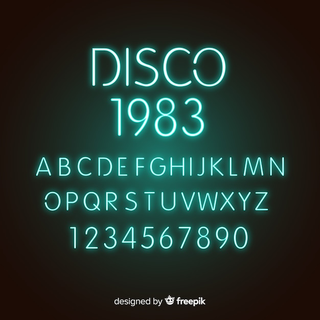 Font with alphabet in neon style Free Vector